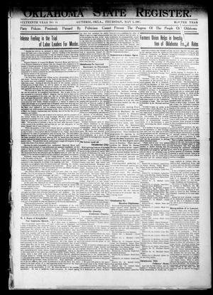 Primary view of object titled 'Oklahoma State Register. (Guthrie, Okla.), Vol. 16, No. 14, Ed. 1 Thursday, May 2, 1907'.