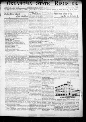 Primary view of object titled 'Oklahoma State Register. (Guthrie, Okla.), Vol. 16, No. 21, Ed. 1 Thursday, June 20, 1907'.