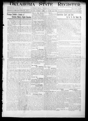 Primary view of object titled 'Oklahoma State Register. (Guthrie, Okla.), Vol. 16, No. 25, Ed. 1 Thursday, July 18, 1907'.