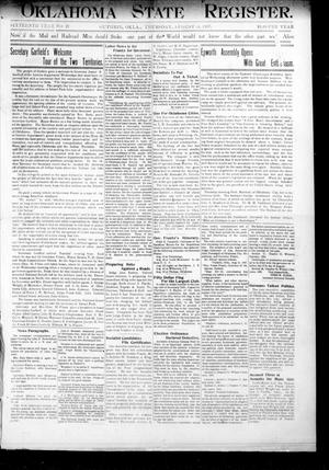 Primary view of object titled 'Oklahoma State Register. (Guthrie, Okla.), Vol. 16, No. 29, Ed. 1 Thursday, August 15, 1907'.