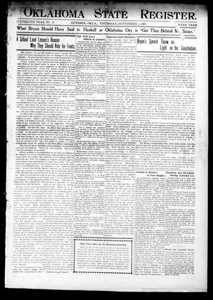 Primary view of object titled 'Oklahoma State Register. (Guthrie, Okla.), Vol. 16, No. 32, Ed. 1 Thursday, September 5, 1907'.
