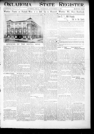 Primary view of object titled 'Oklahoma State Register. (Guthrie, Okla.), Vol. 16, No. 34, Ed. 1 Thursday, September 19, 1907'.