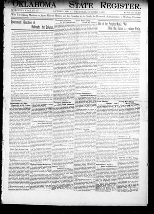 Primary view of object titled 'Oklahoma State Register. (Guthrie, Okla.), Vol. 16, No. 36, Ed. 1 Thursday, October 3, 1907'.