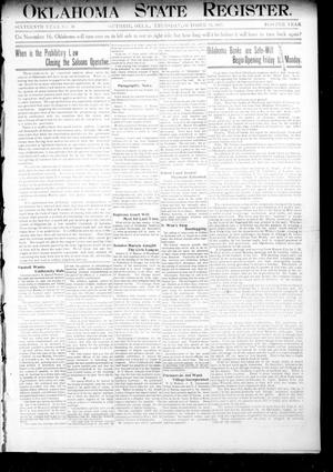 Primary view of object titled 'Oklahoma State Register. (Guthrie, Okla.), Vol. 16, No. 40, Ed. 1 Thursday, October 31, 1907'.