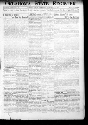 Primary view of object titled 'Oklahoma State Register. (Guthrie, Okla.), Vol. 16, No. 42, Ed. 1 Thursday, November 14, 1907'.