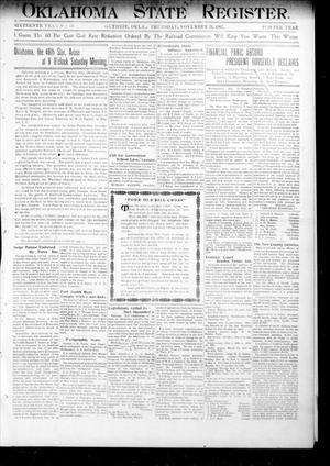 Primary view of object titled 'Oklahoma State Register. (Guthrie, Okla.), Vol. 16, No. 43, Ed. 1 Thursday, November 21, 1907'.