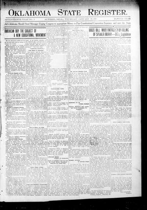 Primary view of object titled 'Oklahoma State Register. (Guthrie, Okla.), Vol. 17, No. 1, Ed. 1 Thursday, January 30, 1908'.