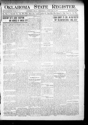 Primary view of object titled 'Oklahoma State Register. (Guthrie, Okla.), Vol. 17, No. 3, Ed. 1 Thursday, February 13, 1908'.
