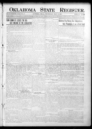Primary view of object titled 'Oklahoma State Register. (Guthrie, Okla.), Vol. 17, No. 18, Ed. 1 Thursday, May 28, 1908'.