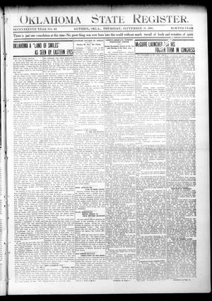 Primary view of object titled 'Oklahoma State Register. (Guthrie, Okla.), Vol. 17, No. 33, Ed. 1 Thursday, September 10, 1908'.