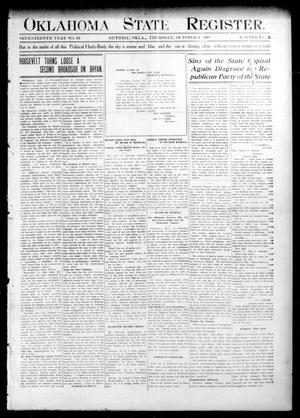 Primary view of object titled 'Oklahoma State Register. (Guthrie, Okla.), Vol. 17, No. 35, Ed. 1 Thursday, October 1, 1908'.