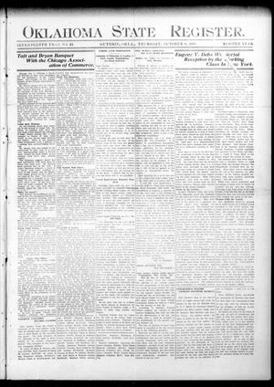 Primary view of object titled 'Oklahoma State Register. (Guthrie, Okla.), Vol. 17, No. 35, Ed. 1 Thursday, October 8, 1908'.