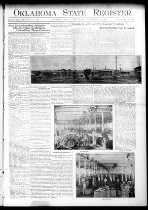 Primary view of object titled 'Oklahoma State Register. (Guthrie, Okla.), Vol. 17, No. 37, Ed. 1 Thursday, November 12, 1908'.