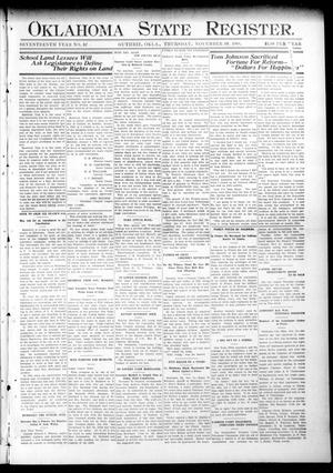 Primary view of object titled 'Oklahoma State Register. (Guthrie, Okla.), Vol. 17, No. 37, Ed. 1 Thursday, November 19, 1908'.