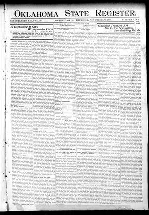 Primary view of object titled 'Oklahoma State Register. (Guthrie, Okla.), Vol. 17, No. 38, Ed. 1 Thursday, November 26, 1908'.