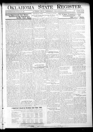 Primary view of object titled 'Oklahoma State Register. (Guthrie, Okla.), Vol. 17, No. 42, Ed. 1 Thursday, December 24, 1908'.