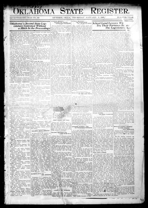 Primary view of object titled 'Oklahoma State Register. (Guthrie, Okla.), Vol. 17, No. 44, Ed. 1 Thursday, January 7, 1909'.