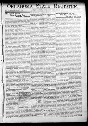 Primary view of object titled 'Oklahoma State Register. (Guthrie, Okla.), Vol. 17, No. 46, Ed. 1 Thursday, January 28, 1909'.