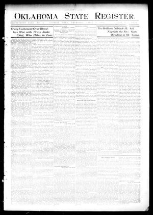 Primary view of object titled 'Oklahoma State Register. (Guthrie, Okla.), Vol. 18, No. 3, Ed. 1 Thursday, April 1, 1909'.