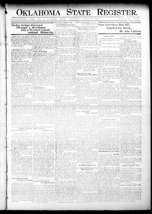 Primary view of object titled 'Oklahoma State Register. (Guthrie, Okla.), Vol. 18, No. 6, Ed. 1 Thursday, April 22, 1909'.