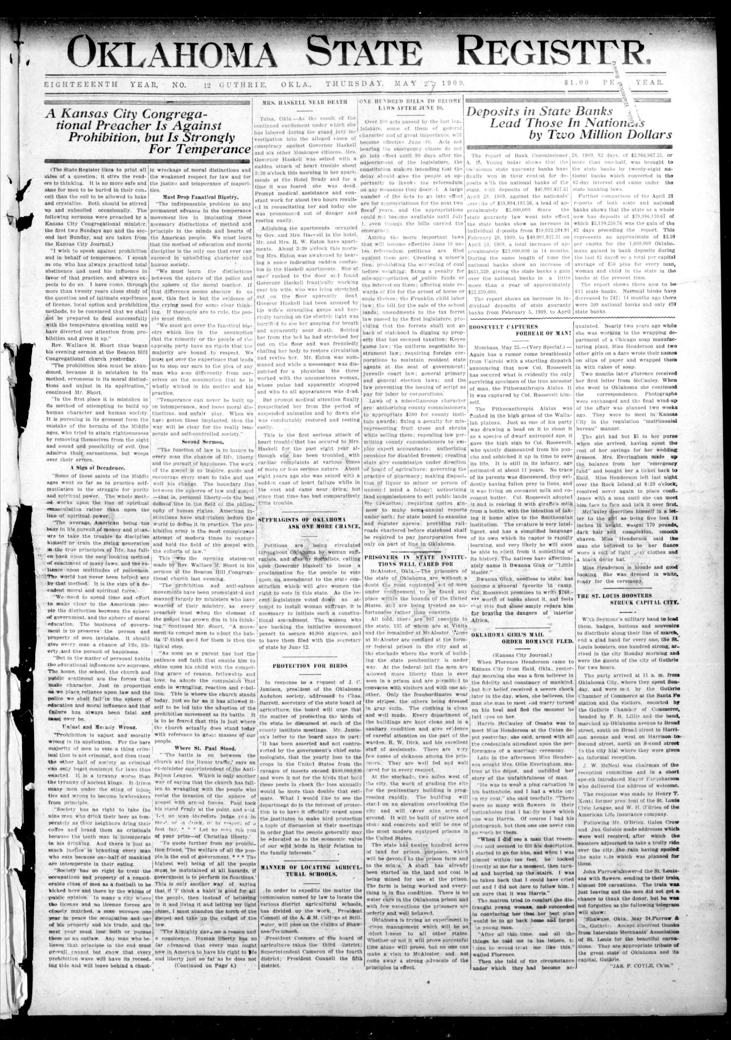Oklahoma State Register. (Guthrie, Okla.), Vol. 18, No. 12, Ed. 1 Thursday, May 27, 1909                                                                                                      [Sequence #]: 1 of 8