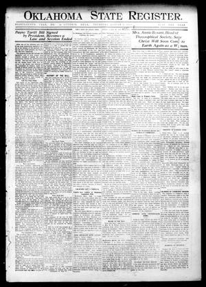 Primary view of object titled 'Oklahoma State Register. (Guthrie, Okla.), Vol. 18, No. 22, Ed. 1 Thursday, August 5, 1909'.
