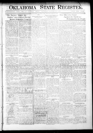 Primary view of object titled 'Oklahoma State Register. (Guthrie, Okla.), Vol. 18, No. 23, Ed. 1 Thursday, August 12, 1909'.