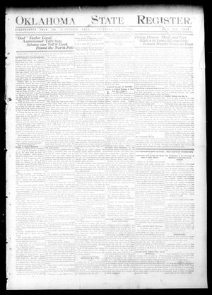 Primary view of object titled 'Oklahoma State Register. (Guthrie, Okla.), Vol. 18, No. 31, Ed. 1 Thursday, October 7, 1909'.