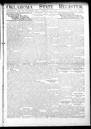 Primary view of object titled 'Oklahoma State Register. (Guthrie, Okla.), Vol. 18, No. 32, Ed. 1 Thursday, October 14, 1909'.