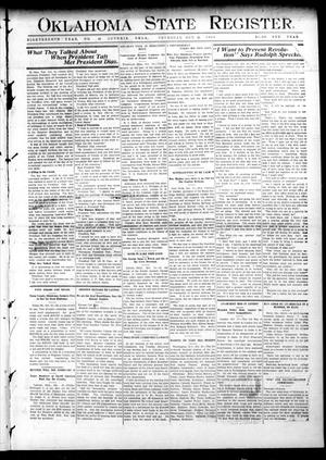 Primary view of object titled 'Oklahoma State Register. (Guthrie, Okla.), Vol. 18, No. 33, Ed. 1 Thursday, October 21, 1909'.