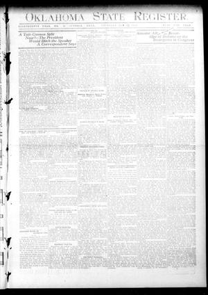Primary view of object titled 'Oklahoma State Register. (Guthrie, Okla.), Vol. 18, No. 33, Ed. 1 Thursday, October 28, 1909'.