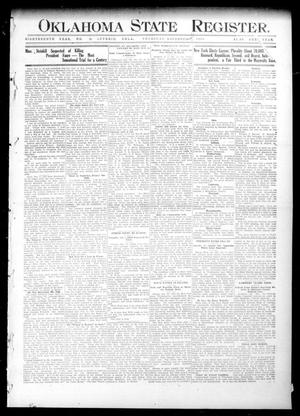 Primary view of object titled 'Oklahoma State Register. (Guthrie, Okla.), Vol. 18, No. 34, Ed. 1 Thursday, November 4, 1909'.