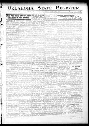 Primary view of object titled 'Oklahoma State Register. (Guthrie, Okla.), Vol. 18, No. 39, Ed. 1 Thursday, December 9, 1909'.