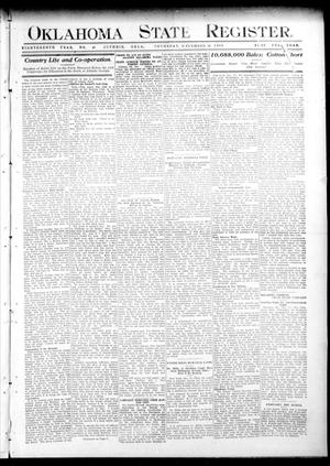 Primary view of object titled 'Oklahoma State Register. (Guthrie, Okla.), Vol. 18, No. 40, Ed. 1 Thursday, December 16, 1909'.