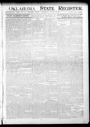 Primary view of object titled 'Oklahoma State Register. (Guthrie, Okla.), Vol. 18, No. 44, Ed. 1 Thursday, January 13, 1910'.