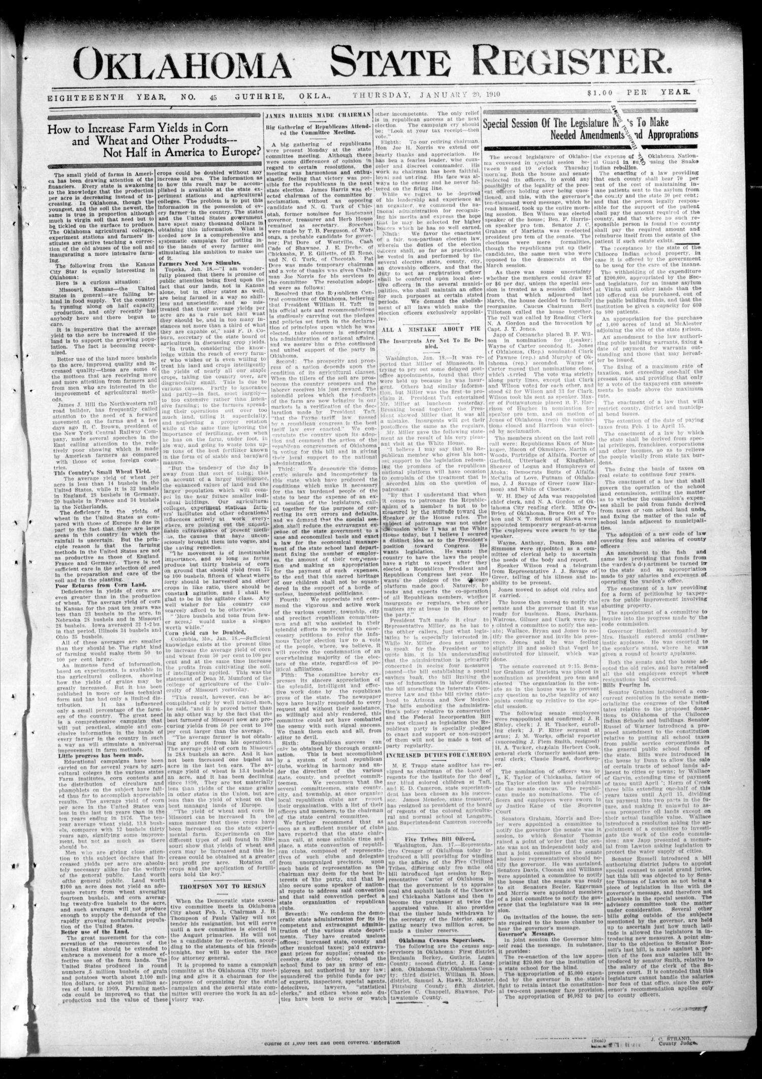 Oklahoma State Register. (Guthrie, Okla.), Vol. 18, No. 45, Ed. 1 Thursday, January 20, 1910                                                                                                      [Sequence #]: 1 of 8