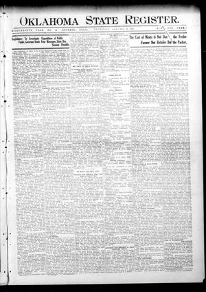 Primary view of object titled 'Oklahoma State Register. (Guthrie, Okla.), Vol. 18, No. 46, Ed. 1 Thursday, January 27, 1910'.