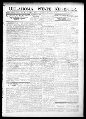 Primary view of object titled 'Oklahoma State Register. (Guthrie, Okla.), Vol. 18, No. 46, Ed. 1 Thursday, February 3, 1910'.