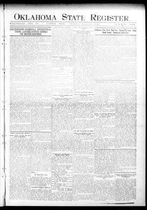 Primary view of object titled 'Oklahoma State Register. (Guthrie, Okla.), Vol. 18, No. 47, Ed. 1 Thursday, February 10, 1910'.