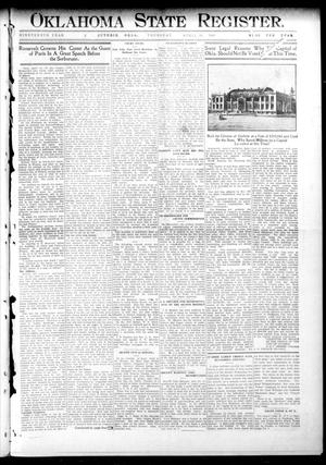 Primary view of object titled 'Oklahoma State Register. (Guthrie, Okla.), Vol. 19, No. 2, Ed. 1 Thursday, April 28, 1910'.