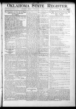Primary view of object titled 'Oklahoma State Register. (Guthrie, Okla.), Vol. 19, No. 8, Ed. 1 Thursday, June 9, 1910'.