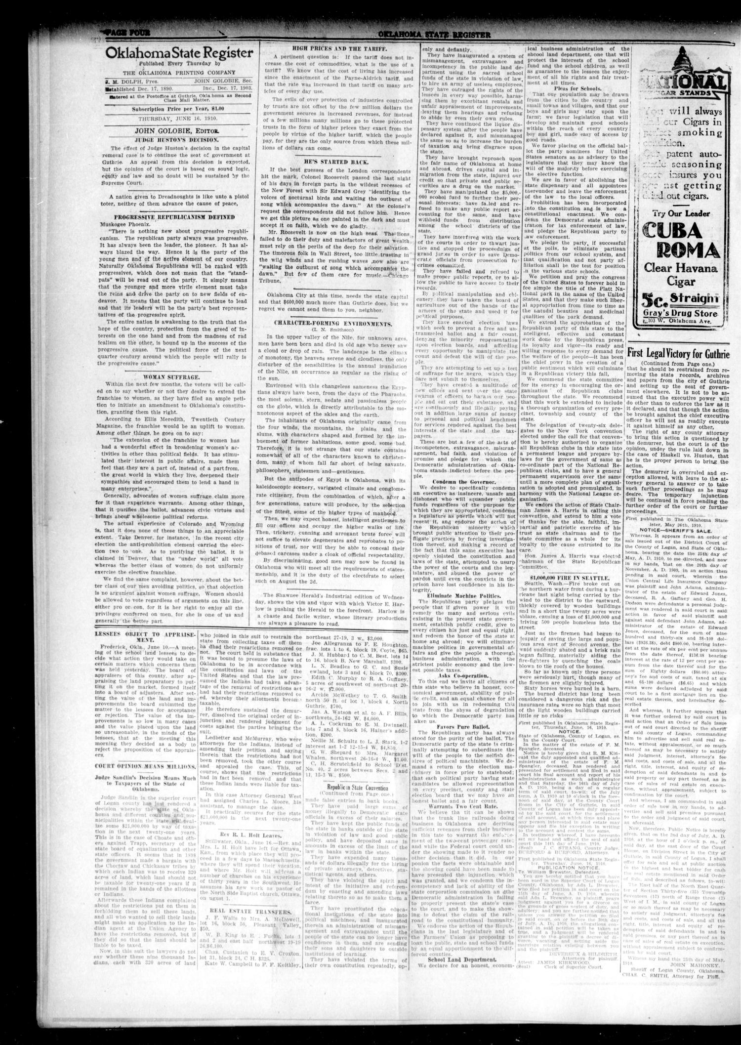 Oklahoma State Register. (Guthrie, Okla.), Vol. 19, No. 10, Ed. 1 Thursday, June 16, 1910                                                                                                      [Sequence #]: 4 of 8