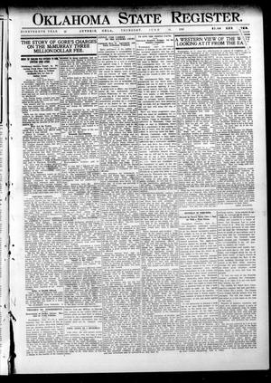 Primary view of object titled 'Oklahoma State Register. (Guthrie, Okla.), Vol. 19, No. 12, Ed. 1 Thursday, June 30, 1910'.