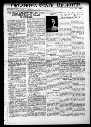 Primary view of object titled 'Oklahoma State Register. (Guthrie, Okla.), Vol. 19, No. 13, Ed. 1 Thursday, July 7, 1910'.