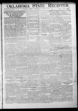 Primary view of object titled 'Oklahoma State Register. (Guthrie, Okla.), Vol. 19, No. 14, Ed. 1 Thursday, July 14, 1910'.