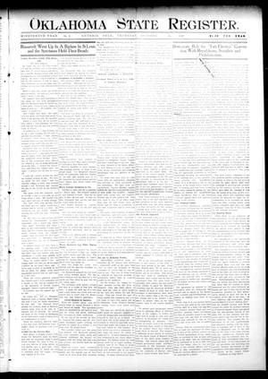 Primary view of object titled 'Oklahoma State Register. (Guthrie, Okla.), Vol. 19, No. 27, Ed. 1 Thursday, October 13, 1910'.