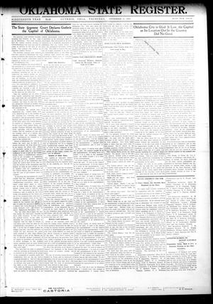 Primary view of object titled 'Oklahoma State Register. (Guthrie, Okla.), Vol. 19, No. 32, Ed. 1 Thursday, November 17, 1910'.