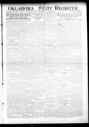 Primary view of object titled 'Oklahoma State Register. (Guthrie, Okla.), Vol. 19, No. 33, Ed. 1 Thursday, November 24, 1910'.