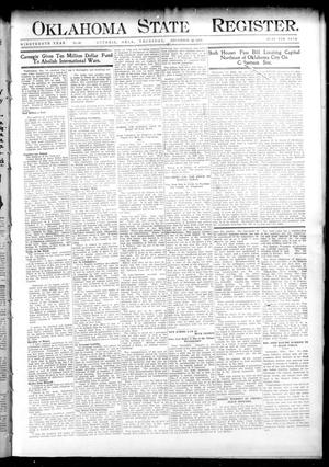 Primary view of object titled 'Oklahoma State Register. (Guthrie, Okla.), Vol. 19, No. 36, Ed. 1 Thursday, December 15, 1910'.