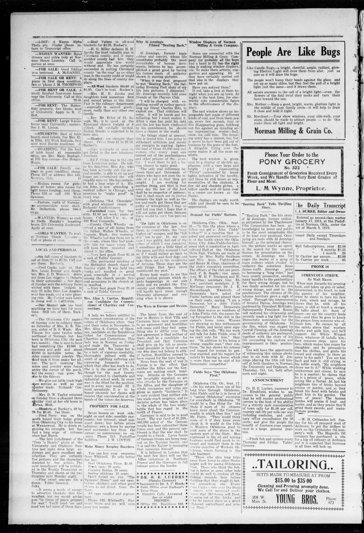 The Daily Transcript  (Norman, Okla.), Vol. 2, No. 96, Ed. 1 Tuesday, September 29, 1914                                                                                                      [Sequence #]: 4 of 4